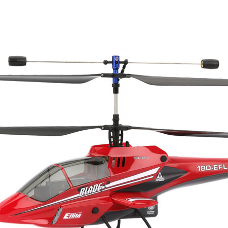 The Blade CX2's coaxial, counter-rotating blades cancel out the rotational torque that makes hovering a conventional heli so difficult. Instead of a tail rotor, the Blade CX2 uses differential rotor speed for yaw control.