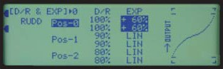 With 3 Available Rates, values for rates and expo are first assigned to their respective positions for ailerons, elevator and rudder axes. Then -- as shown in the bottom photo -- , the values are programmed for their corresponding Flight Mode positions.