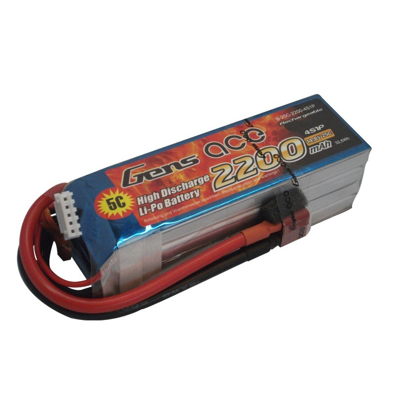Gens ace 2200mAh 14.8V 25C 4S1P Lipo Battery Pack