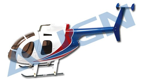 450 Scale Fuselage 500E. Spec: White. Red. Blue.