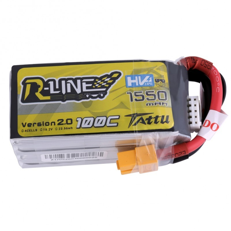 Tattu R-Line 1550mAh 100C 4S1P 15.2V HV Lipo Battery-Version 2.0