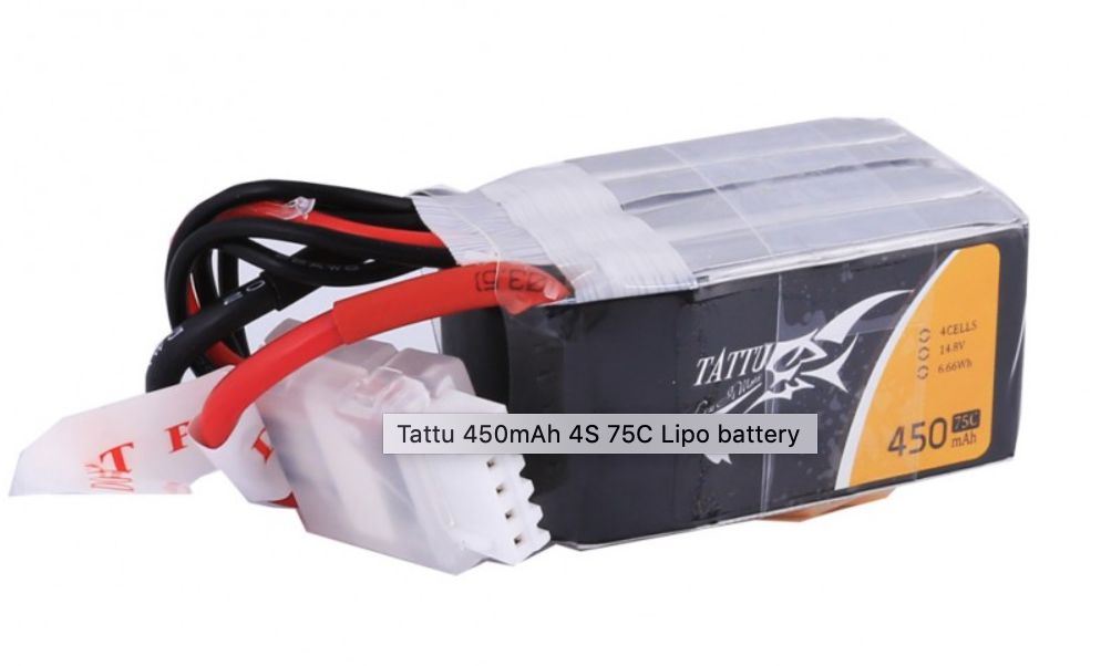 TATTU 450mAh 14.8V 75C 4S1P Lipo Battery Pack